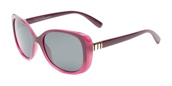 Angle of Jasmine #3446 in Purple Frame with Smoke Lenses, Women's Square Sunglasses