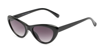 Angle of Jewels #7434 in Glossy Black Frame with Smoke Lenses, Women's Cat Eye Sunglasses