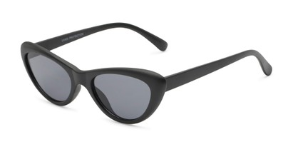 Angle of Jewels #7434 in Matte Black Frame with Grey Lenses, Women's Cat Eye Sunglasses