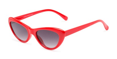 Angle of Jewels #7434 in Glossy Red Frame with Smoke Lenses, Women's Cat Eye Sunglasses