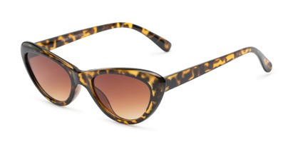 Angle of Jewels #7434 in Glossy Tortoise Frame with Amber Lenses, Women's Cat Eye Sunglasses