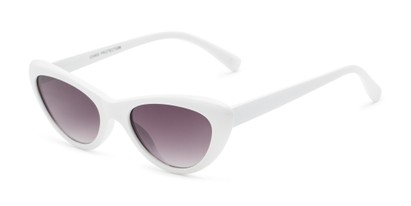 Angle of Jewels #7434 in Glossy White Frame with Smoke Lenses, Women's Cat Eye Sunglasses