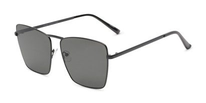 Angle of Joel #4804 in Black Frame with Grey Lenses, Women's Square Sunglasses