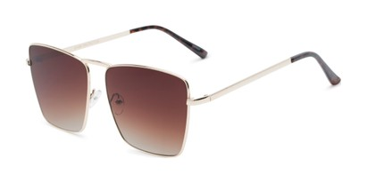 Angle of Joel #4804 in Gold Frame with Amber Lenses, Women's Square Sunglasses