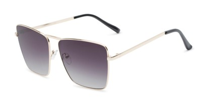 Angle of Joel #4804 in Gold Frame with Smoke Lenses, Women's Square Sunglasses