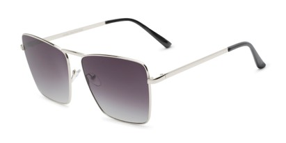 Angle of Joel #4804 in Silver Frame with Smoke Lenses, Women's Square Sunglasses