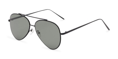 Angle of Jolt #3963 in Black Frame with Green Lenses, Women's and Men's Aviator Sunglasses
