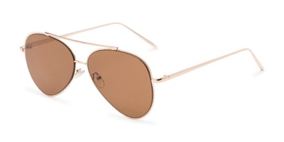 Angle of Jolt #3963 in Gold Frame with Amber Lenses, Women's and Men's Aviator Sunglasses