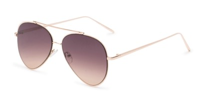 Angle of Jolt #3963 in Gold Frame with Amber Smoke Lenses, Women's and Men's Aviator Sunglasses