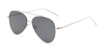 Angle of Jolt #3963 in Silver Frame with Grey Lenses, Women's and Men's Aviator Sunglasses