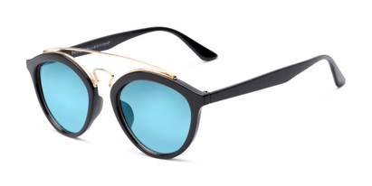 Angle of Jones #7440 in Glossy Black Frame with Blue Mirrored Lenses, Women's and Men's Round Sunglasses
