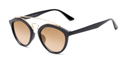 Angle of Jones #7440 in Glossy Black Frame with Amber Faded Lenses, Women's and Men's Round Sunglasses
