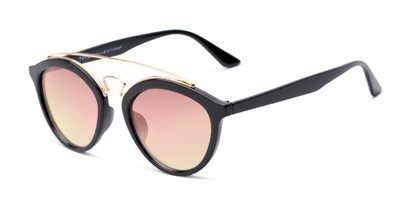Angle of Jones #7440 in Glossy Black Frame with Pink Mirrored Lenses, Women's and Men's Round Sunglasses