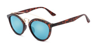 Angle of Jones #7440 in Matte Tortoise Frame with Blue Mirrored Lenses, Women's and Men's Round Sunglasses