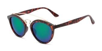 Angle of Jones #7440 in Matte Tortoise Frame with Green/Purple Mirrored Lenses, Women's and Men's Round Sunglasses