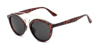Angle of Jones #7440 in Matte Tortoise Frame with Grey Lenses, Women's and Men's Round Sunglasses