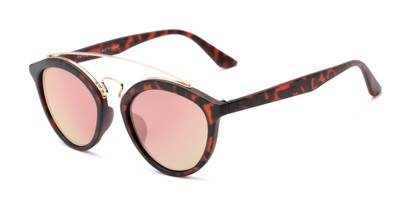 Angle of Jones #7440 in Matte Tortoise Frame with Pink Mirrored Lenses, Women's and Men's Round Sunglasses
