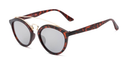 Angle of Jones #7440 in Matte Tortoise Frame with Silver Mirrored Lenses, Women's and Men's Round Sunglasses