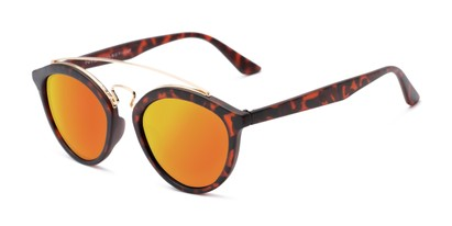 Angle of Jones #7440 in Matte Tortoise Frame with Orange Mirrored Lenses, Women's and Men's Round Sunglasses