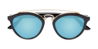 Folded of Jones #7440 in Glossy Black Frame with Blue Mirrored Lenses