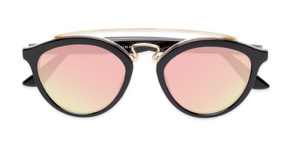 Folded of Jones #7440 in Glossy Black Frame with Pink Mirrored Lenses