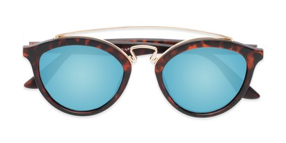 Folded of Jones #7440 in Matte Tortoise Frame with Blue Mirrored Lenses