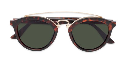 Folded of Jones #7440 in Matte Tortoise Frame with Green Lenses