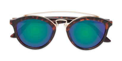 Folded of Jones #7440 in Matte Tortoise Frame with Green/Purple Mirrored Lenses