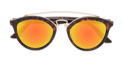 Folded of Jones #7440 in Matte Tortoise Frame with Orange Mirrored Lenses