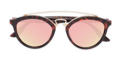 Folded of Jones #7440 in Matte Tortoise Frame with Pink Mirrored Lenses