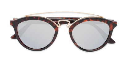 Folded of Jones #7440 in Matte Tortoise Frame with Silver Mirrored Lenses