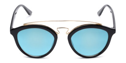 Front of Jones #7440 in Glossy Black Frame with Blue Mirrored Lenses
