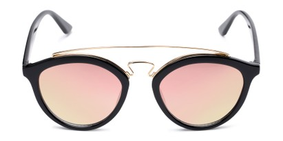 Front of Jones #7440 in Glossy Black Frame with Pink Mirrored Lenses