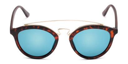 Front of Jones #7440 in Matte Tortoise Frame with Blue Mirrored Lenses