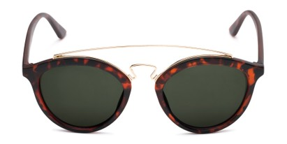 Front of Jones #7440 in Matte Tortoise Frame with Green Lenses