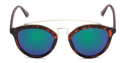 Front of Jones #7440 in Matte Tortoise Frame with Green/Purple Mirrored Lenses