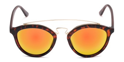 Front of Jones #7440 in Matte Tortoise Frame with Orange Mirrored Lenses