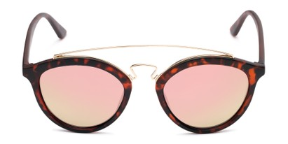 Front of Jones #7440 in Matte Tortoise Frame with Pink Mirrored Lenses