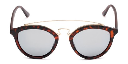 Front of Jones #7440 in Matte Tortoise Frame with Silver Mirrored Lenses