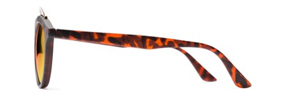 Side of Jones #7440 in Matte Tortoise Frame with Orange Mirrored Lenses