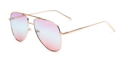 Angle of Juno #3134 in Gold Frame with Purple/Blue/Pink Gradient Lenses, Women's Aviator Sunglasses