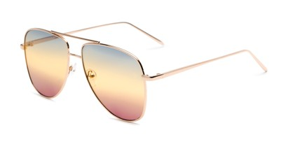 Angle of Juno #3134 in Gold Frame with Blue/Yellow/Purple Gradient Lenses, Women's Aviator Sunglasses