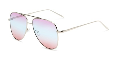 Angle of Juno #3134 in Silver Frame with Purple/Blue/Pink Gradient Lenses, Women's Aviator Sunglasses