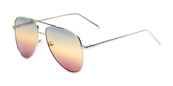 Angle of Juno #3134 in Silver Frame with Blue/Yellow/Purple Gradient Lenses, Women's Aviator Sunglasses