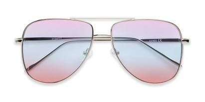 Folded of Juno #3134 in Silver Frame with Purple/Blue/Pink Gradient Lenses