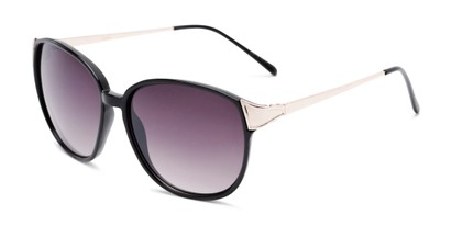 Angle of Kemper #31954 in Black Frame with Smoke Lenses, Women's Square Sunglasses