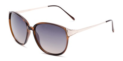 Angle of Kemper #31954 in Brown Frame with Blue Smoke Lenses, Women's Square Sunglasses