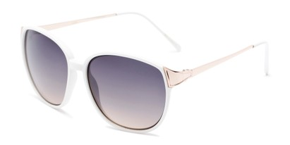 Angle of Kemper #31954 in White Frame with Blue Smoke Lenses, Women's Square Sunglasses