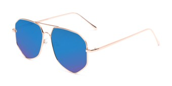 Angle of Kendall #63072 in Gold Frame with Blue Mirrored Lenses, Women's and Men's Aviator Sunglasses