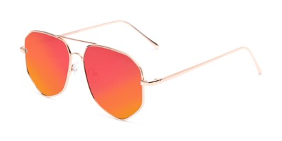 Angle of Kendall #63072 in Gold Frame with Orange Mirrored Lenses, Women's and Men's Aviator Sunglasses